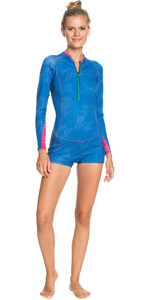 2021 Roxy Womens Pop Surf 1.5mm Long Sleeve Spring Shorty Wetsuit ERJW403028 - Princess Blue / Beetroot Purple