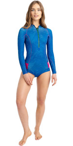 2021 Roxy Womens Pop Surf 1mm Long Sleeve Cheeky Spring Shorty Wetsuit ERJW403027 - Princess Blue / Beetroot Purple