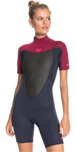 2021 Roxy Womens Prologue 2/2mm Back Zip Spring Shorty Wetsuit ERJW503018 - Dark Navy / Burgundy