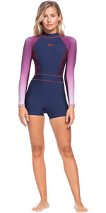 2021 Roxy Womens Rise Collection 1.5mm Long Sleeve Shorty Wetsuit ERJW403036 - Navy Nights / Red Plum / Garnet
