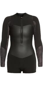 2021 Roxy Womens Satin 1.5mm Long Sleeve Spring Shorty Wetsuit ERJW403020 - Black