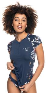 2021 Roxy Womens Sunset Boogie Short Sleeve Rash Vest ERJWR03515 - Mood Indigo / Sunset Boogie