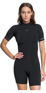 2021 Roxy Womens Syncro 2/2mm Back Zip Spring Shorty Wetsuit ERJW503014 - Black / Jet Black