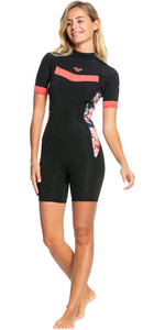 2021 Roxy Womens Syncro 2/2mm Back Zip Spring Shorty Wetsuit ERJW503014 - Black / Bright Coral