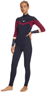 2021 Roxy Womens Syncro 3/2mm Chest Zip GBS Wetsuit ERJW103053 - Dark Navy / Red Plum / Sunset Glow