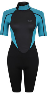 2021 Typhoon Womens Storm3 3/2mm Back Zip Shorty Wetsuit 250895 - Black / Aqua