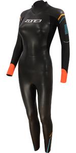 2021 Zone3 Womens Aspect Breaststroke 3/2mm Triathlon Wetsuit WS21WAP - Black / Blue / Orange
