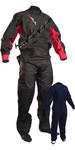 2019 Gul Mens Dartmouth Eclip Zip Drysuit + Underfleece GM0378-B5 - Black / Red