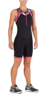 2XU Womens Active Front Zip Trisuit BLACK / RETRO PINK PEACOCK WT4865d