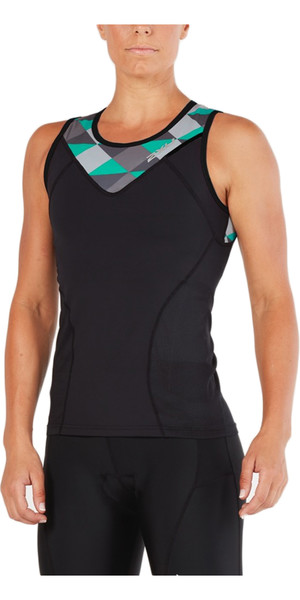 2018 2XU Womens Active Tri Singlet BLACK / RETRO AQUA GREEN WT4866a