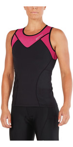 2018 2XU Womens Active Tri Singlet BLACK / RETRO PINK PEACOCK WT4866a