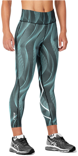 2018 2XU Womens Mid-Rise Print 7/8 Compression Tights ARUBA BLUE VERTICAL CURVE WA4629b