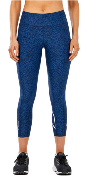 2018 2XU Womens Mid-Rise Print 7/8 Compression Tights LAPIS BLUE WA4629b