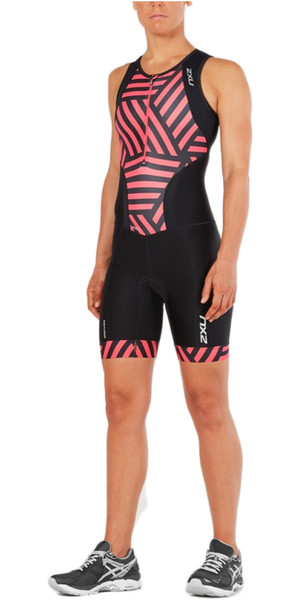 2018 2XU Womens Perform Front Zip Trisuit BLACK / GEO MELON WT4855d