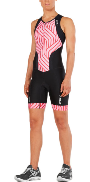 2018 2XU Womens Perform Front Zip Trisuit BLACK / ROSE PINK TIDE WT4855d