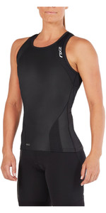 2018 2XU Womens Perform Triathlon Singlet BLACK WT4857a