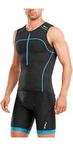 2018 2XU Active Tri Singlet BLACK / DRESDEN BLUE MT4863a