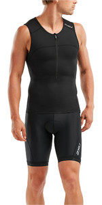 2019 2XU Mens Active Tri Singlet / Vest Black MT5541a