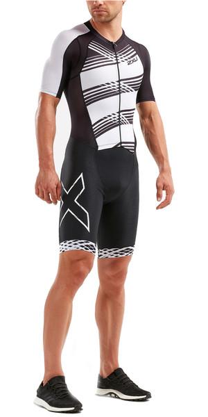 2019 2XU Mens Compression Full Zip Short Sleeve Trisuit Black / White Lines MT5516d