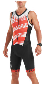 2019 2XU Mens Compression Full Zip Sleeveless Trisuit Black / White Flame MT5517d