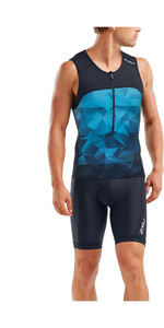2020 2XU Mens Mens Active Tri Singlet / Vest MT5541A - Midnight / Blue Terrain