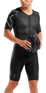 2019 2XU Mens Perform Front Zip Short Sleeve Trisuit Black MT5525d