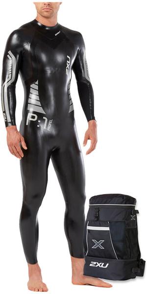 2018 2XU P:1 Propel Triathlon Wetsuit BLACK / SILVER MW4991c & Transition Back Pack