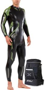 2018 2XU Propel Pro Triathlon Wetsuit BLACK / NEON GREEN GECKO MW5124c & Transition Back Pack