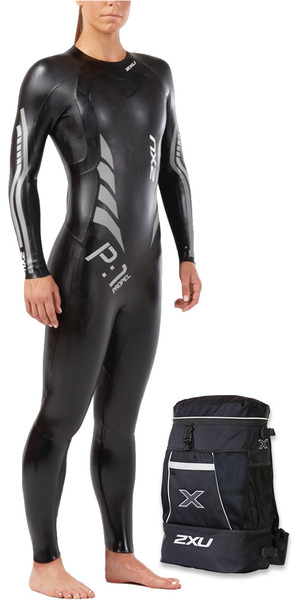2018 2XU Womens P:1 Propel Triathlon Wetsuit BLACK / SILVER WW4994c & Free TRANSITION BACK PACK