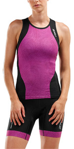 2019 2XU Womens Perform Tri Singlet Black / Berry Mesh WT5536a