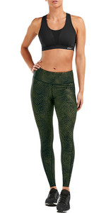 2019 2XU Womens Print Mid-Rise Compression Tights Olive / Black  WA5378b