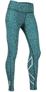 2019 2XU Womens Print Mid-Rise Compression Tights Rain Spot Ocean Teal WA5378b