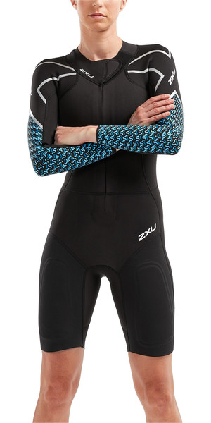 2019 2XU Womens Pro Swim-Run SR1 Wetsuit Black / Aquarius Teal Print WW5480c