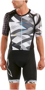 2020 2XU Mens Compression Full Zip Short Sleeve Trisuit MT5516D - Black / Chroma