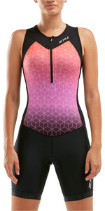 2020 2XU Womens Active Half Zip Trisuit WT5546D - Black / Sunset Ombre