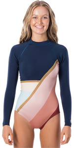 2020 Rip Curl Womens G-Bomb 1mm Sunsetters Long Sleeve Shorty Wetsuit WSP9KW - Navy