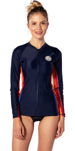2020 Rip Curl Womens Moontide Front Zip Long Sleeve UV Surf Top WLY8PW - Stripe