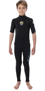 2020 Rip Curl Junior Boys Dawn Patrol 2mm Short Sleeve Chest Zip Wetsuit WSM9UB - Black