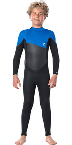 2020 Rip Curl Junior Boys Omega 3/2mm Back Zip Wetsuit WSMYTB - Blue