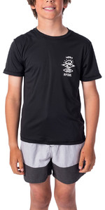 2020 Rip Curl Junior Boys Search Short Sleeve Rash Vest WLY9DB - Black