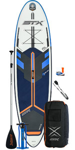 2021 STX Freeride 10'6 Inflatable Stand Up Paddle Board Package - Board, Bag, Paddle, Pump & Leash - Blue / Orange