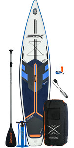 2021 STX Race 14'0 Inflatable Stand Up Paddle Board Package - Board, Bag, Paddle, Pump & Leash - Blue / Orange
