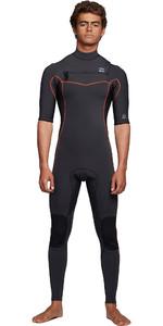 2020 Billabong Mens Revolution 2mm Short Sleeve Chest Zip Wetsuit S42M55 - Antique Black