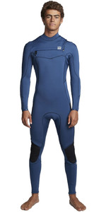 2020 Billabong Mens Furnace Absolute 3/2mm Chest Zip Wetsuit S43M54 - Blue Indigo