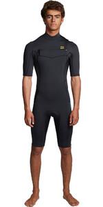2020 Billabong Mens Absolute 2mm Flatlock Chest Zip Shorty Wetsuit S42M70 - Antique Black