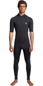 2020 Billabong Mens Absolute 2mm Back Zip Short Sleeve Wetsuit S42M69 - Antique Black