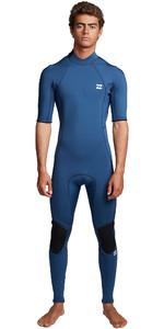 2020 Billabong Mens Absolute 2mm Back Zip Short Sleeve Wetsuit S42M69 - Blue Indigo