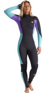 2020 Billabong Womens Synergy 3/2mm Chest Zip Flatlock Wetsuit S43G54 - Blue Lagoon