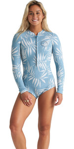 2020 Billabong Womens Salty Dayz 2mm Long Sleeve Shorty Wetsuit S42G57 - Blue Palms