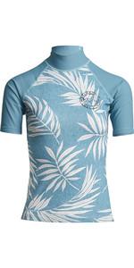 2020 Billabong Womens Surf Capsule Logo Short Sleeve Rash Vest S4GY11 - Sea Blue